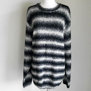 Dockers Mens BlackWhite Ombre Striped Wool Sweater